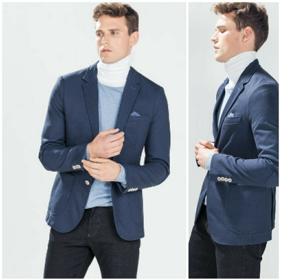 ce57379b Zara Suits & Blazers | Man Basic Collection Casual Blazer Blue 44 ...